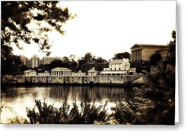 Phillies Art Digital Art Greeting Cards - The Waterworks in Sepia Greeting Card by Bill Cannon