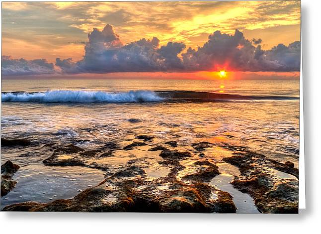 Tidal Photographs Greeting Cards - The Wave Greeting Card by Debra and Dave Vanderlaan