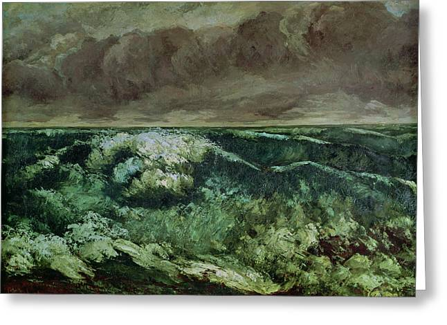 Gustave (1819-77) Greeting Cards - The Wave Greeting Card by Gustave Courbet