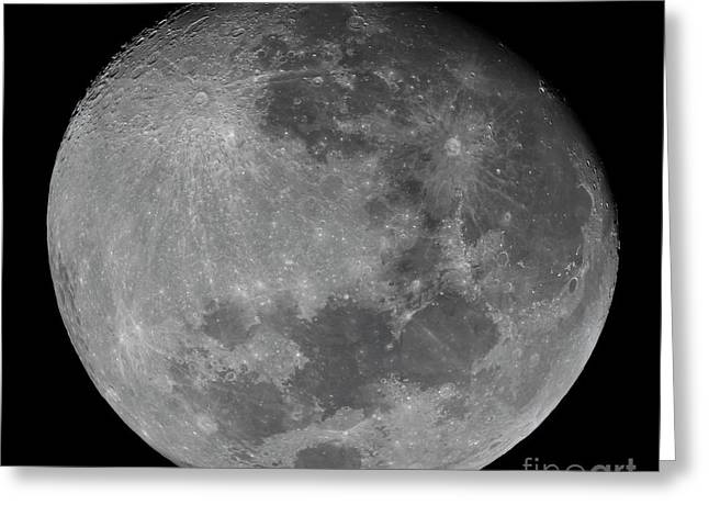 Sea Of Tranquility Greeting Cards - The Waxing Gibbous Moon In A High Greeting Card by Luis Argerich