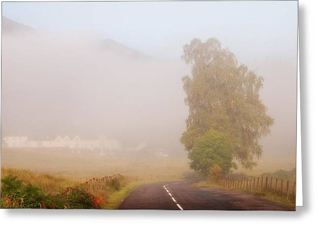 Road Travel Greeting Cards - The Way to Never Never Land. Misty Roads of Scotland Greeting Card by Jenny Rainbow