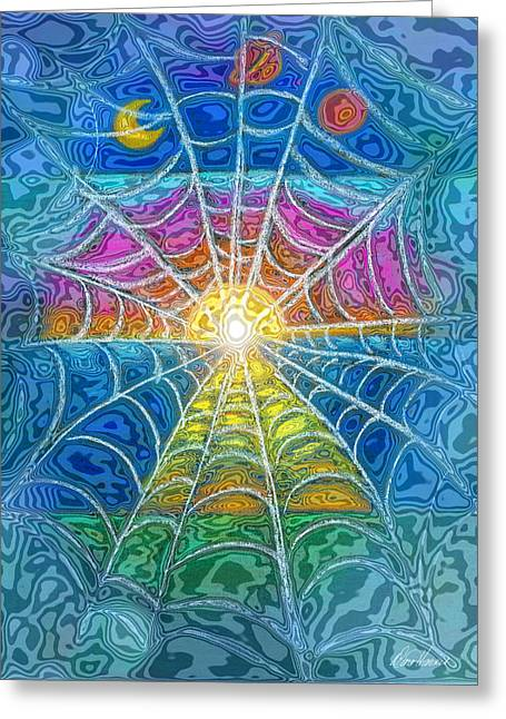 Web Pastels Greeting Cards - The Web of Wyrd Greeting Card by Diana Haronis
