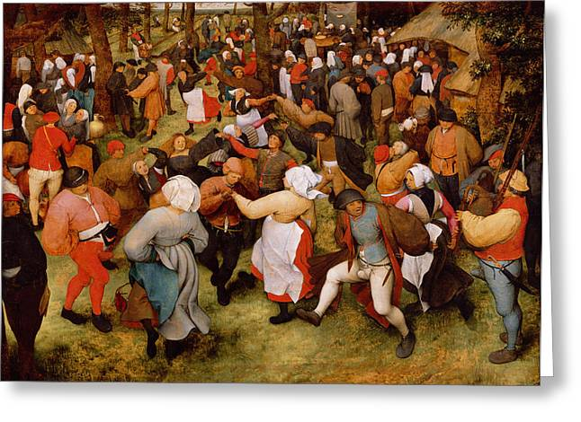 Party Greeting Cards - The Wedding Dance Greeting Card by Pieter the Elder Bruegel