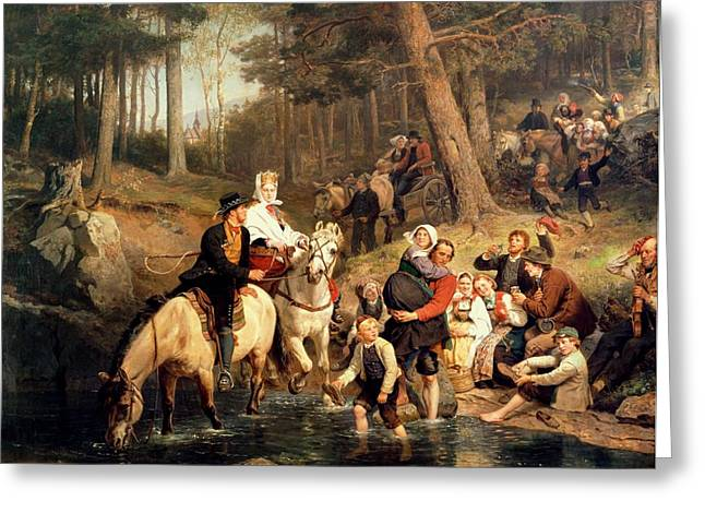 Peasant Greeting Cards - The Wedding Trek Greeting Card by Adolphe Tidemand