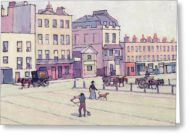 Street Sweeper Greeting Cards - The Weigh House - Cumberland Market Greeting Card by Robert Polhill Bevan