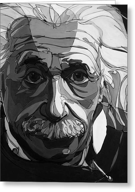 Black And White Portraits Greeting Cards - The Weight of Genius Greeting Card by John Gibbs