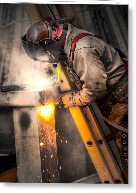 Brenda Bryant Photographs Greeting Cards - The Welder Greeting Card by Brenda Bryant