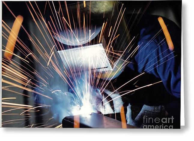 Photographers Dacula Greeting Cards - The Welder Greeting Card by Corky Willis Atlanta Photography