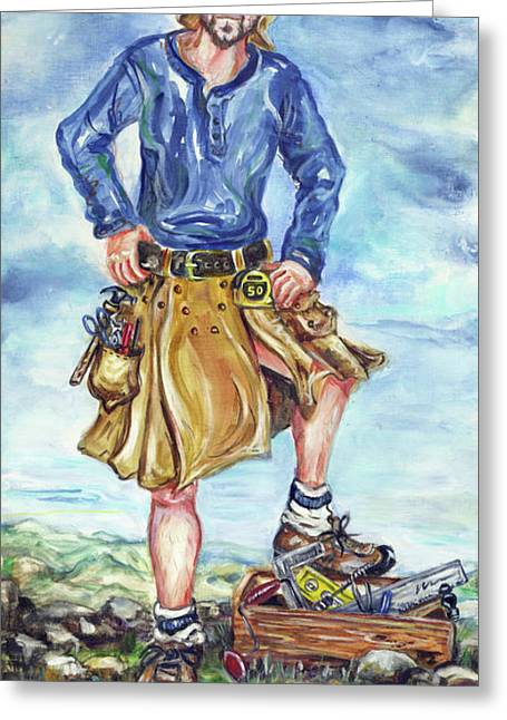 Mr Rogers Greeting Cards - The Well-Ventilated Alaskan Workman Greeting Card by Margaret Donat