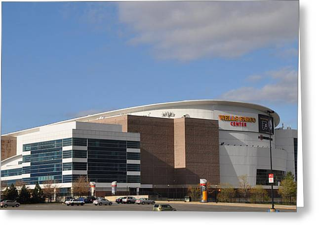 Sixers Greeting Cards - The Wells Fargo Center - Philadelphia  Greeting Card by Bill Cannon