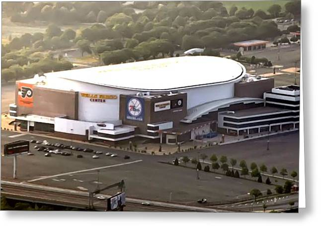 Sixers Greeting Cards - The Wells Fargo Center Greeting Card by Bill Cannon
