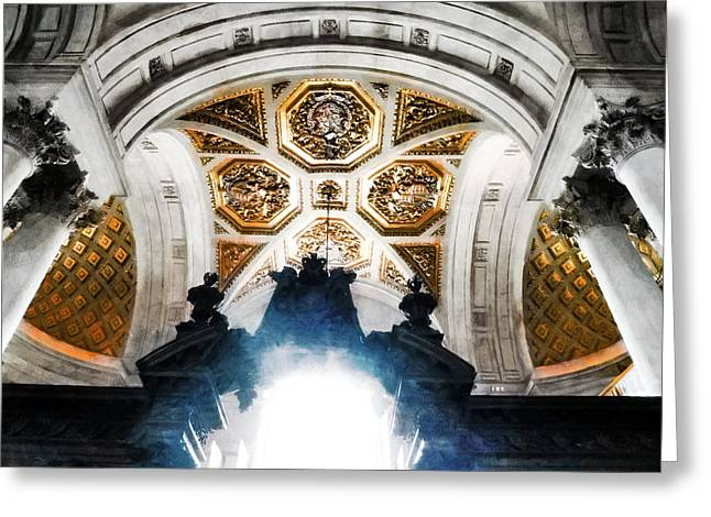 The West Doorway Of St Paul's Cathedral Greeting Card by Steve Taylor