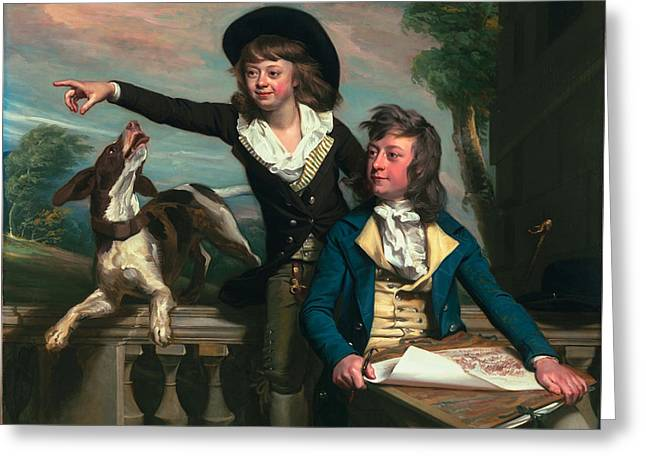 Conversations Greeting Cards - The Western Brothers Greeting Card by John Singleton Copley