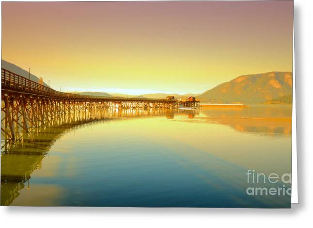 Refection Greeting Cards - The Wharf Greeting Card by Tara Turner