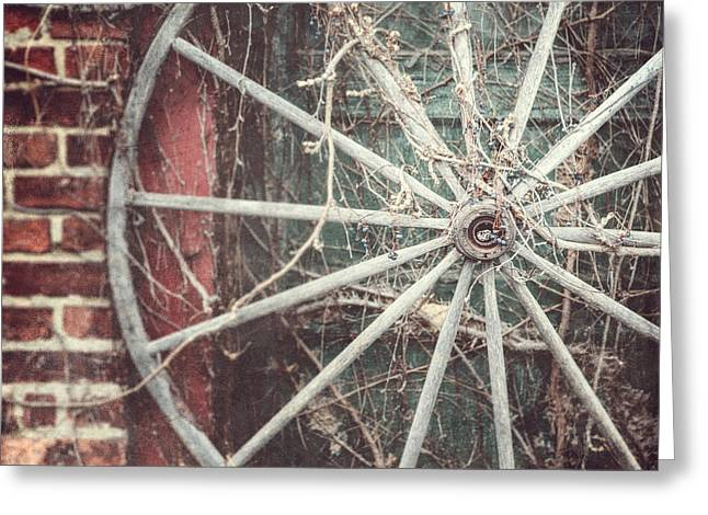 Rustic Decor Greeting Cards - The Wheel and the Ivy Greeting Card by Lisa Russo