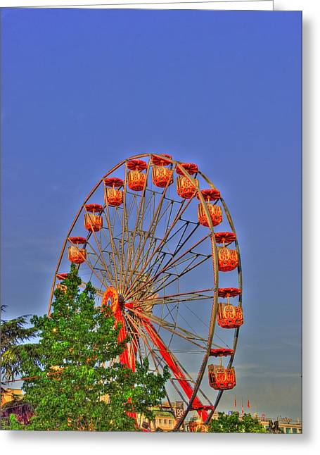 Village By The Sea Greeting Cards - The Wheel Greeting Card by Barry R Jones Jr