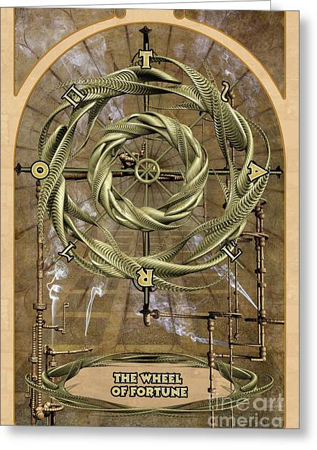 Spiritual Drawings Greeting Cards - The Wheel of Fortune Greeting Card by John Edwards