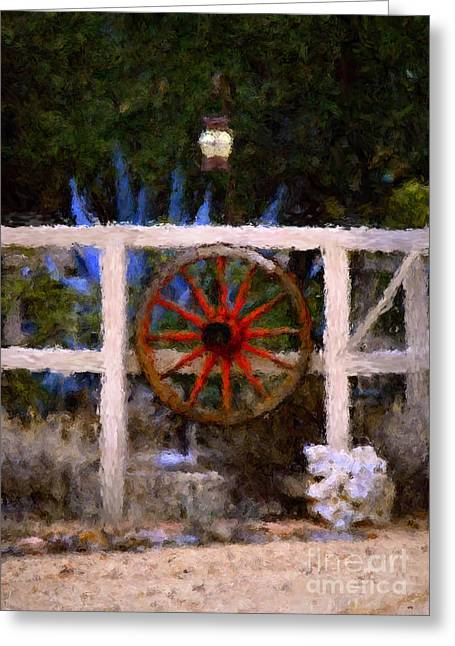 The Wheel On The Fence Greeting Card by Donna Greene