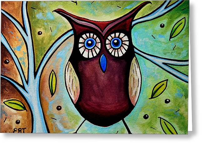 Recently Sold -  - Berry Greeting Cards - The Whimsical Owl Greeting Card by Elizabeth Robinette Tyndall