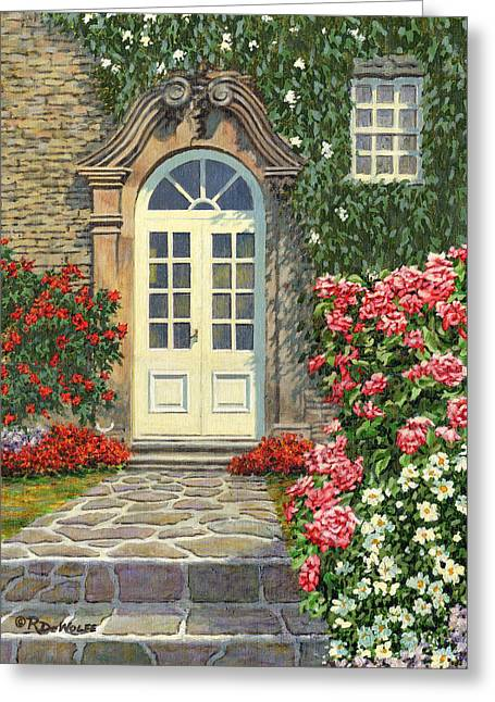 Stone House Greeting Cards - The White Door Greeting Card by Richard De Wolfe