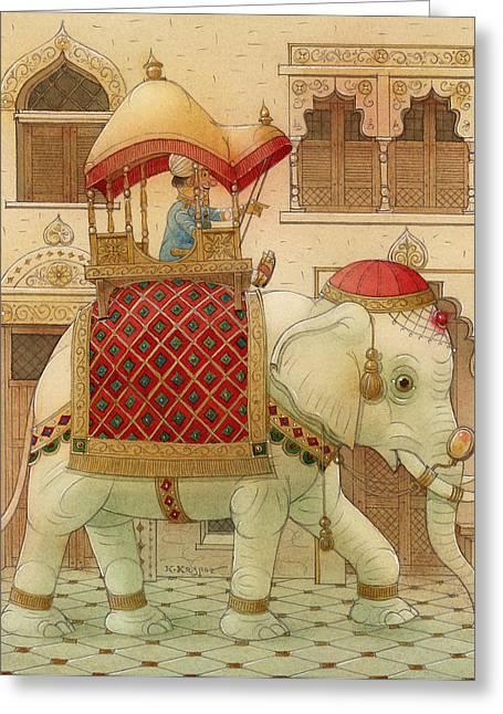 Good Luck Greeting Cards - The White Elephant 01 Greeting Card by Kestutis Kasparavicius