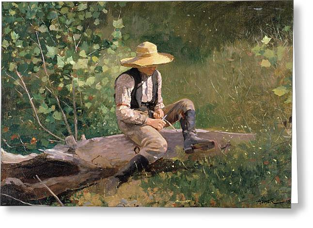 Sun Shade Greeting Cards - The Whittling Boy Greeting Card by Winslow Homer