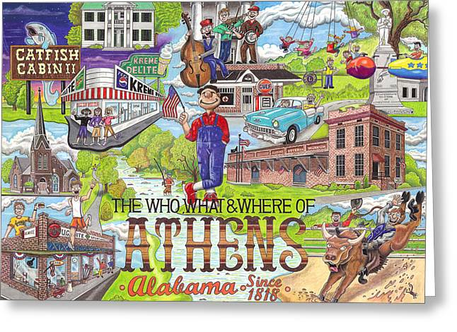 Convention Mixed Media Greeting Cards - The Who What and Where of Athens Alabama Greeting Card by Shawn Doughty