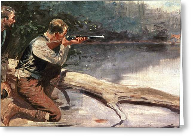 Aiming Greeting Cards - The Winchester Greeting Card by Frederic Remington