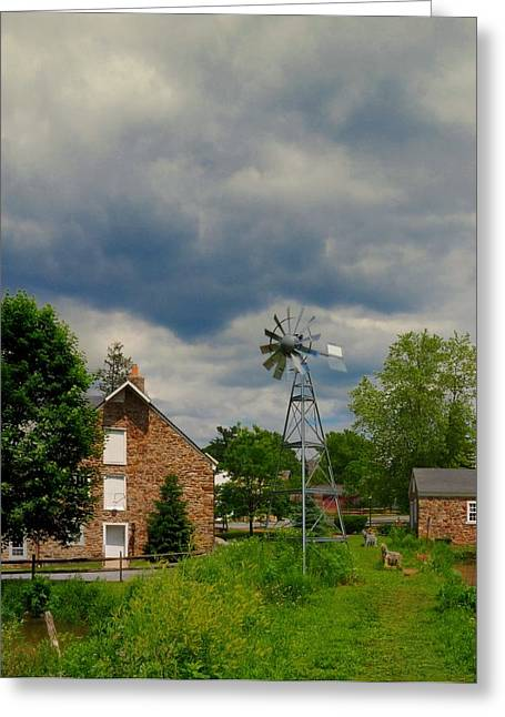Grist Mill Greeting Cards - The Windmill Greeting Card by Paul Ward