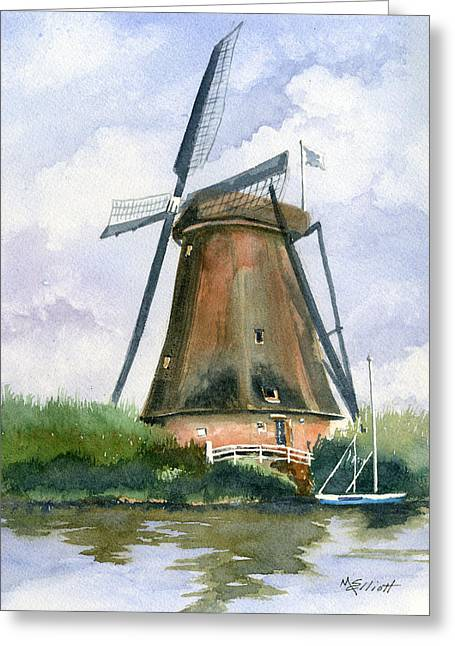 Dutch Greeting Cards - The Windmills of Your Mind Greeting Card by Marsha Elliott
