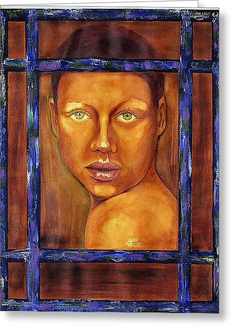 Intrigue Mixed Media Greeting Cards - The Window Greeting Card by Dan Earle