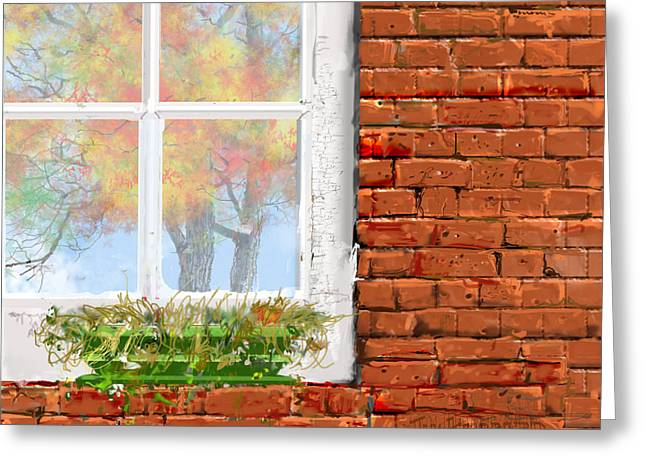 Photoshop Drawings Greeting Cards - The Window Triptych fall Greeting Card by Jim Hubbard