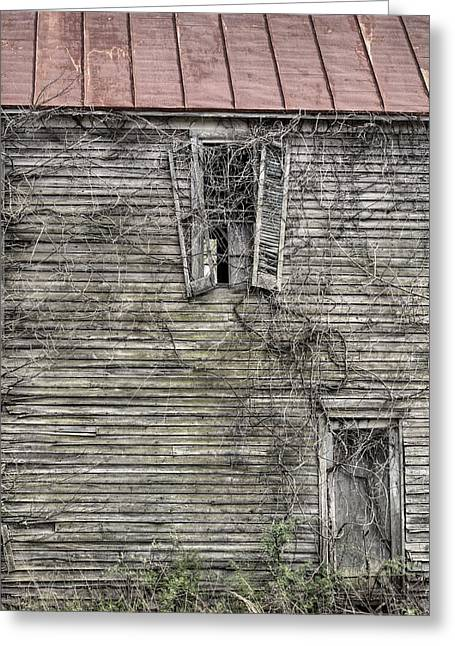 Wooden Antique Building Greeting Cards - The Window up Above Greeting Card by JC Findley