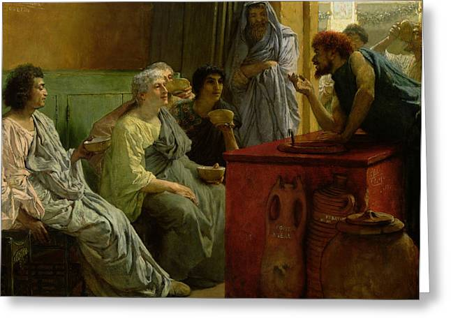 Discussing Greeting Cards - The Wine Shop Greeting Card by Sir Lawrence Alma-Tadema