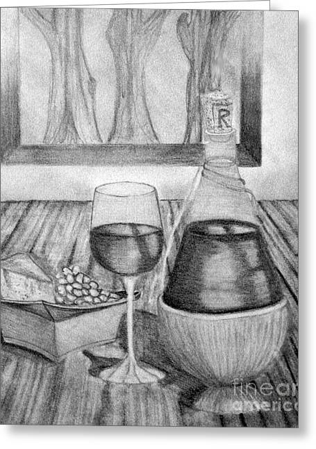 Table Wine Drawings Greeting Cards - The Wine Table Greeting Card by Rachel  Harris