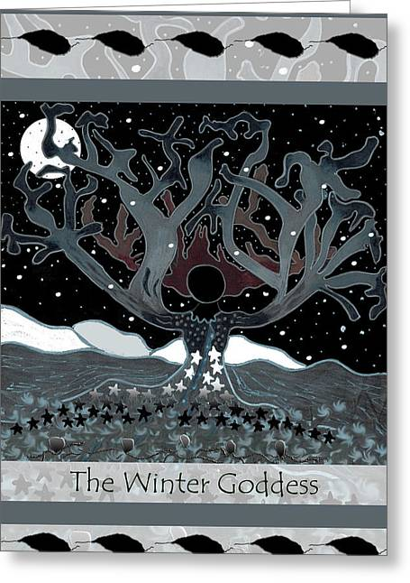 Empowerment Greeting Cards - The Winter Goddess Greeting Card by Lori Kirstein