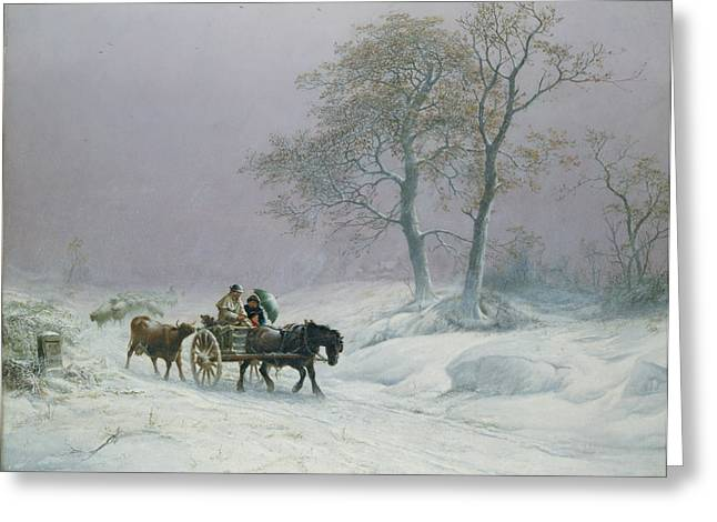 Winter Travel Paintings Greeting Cards - The wintry road to market  Greeting Card by Thomas Sidney Cooper