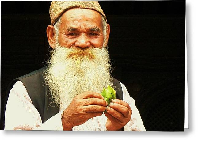 White Beard Photographs Greeting Cards - The Wise Old Man from Bhaktapur Greeting Card by Danny Van den Groenendael