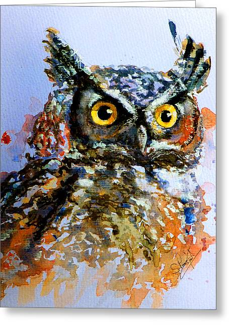 Fine_art Greeting Cards - The wise old owl Greeting Card by Steven Ponsford