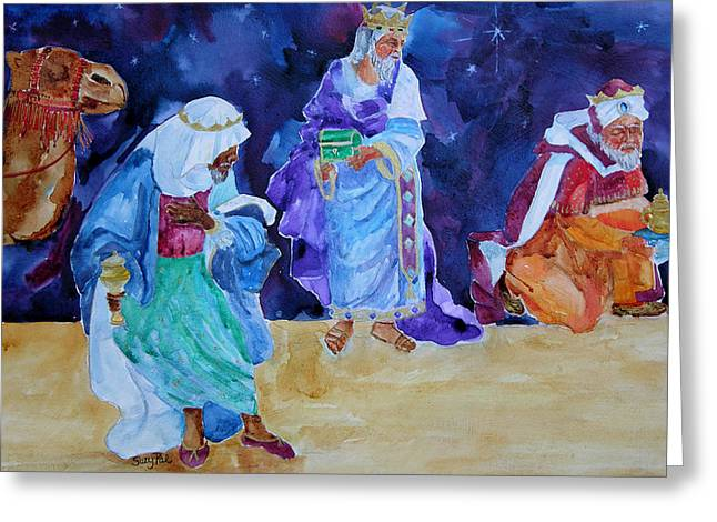 Christmas Art Greeting Cards - The Wisemen Greeting Card by Suzy Pal Powell