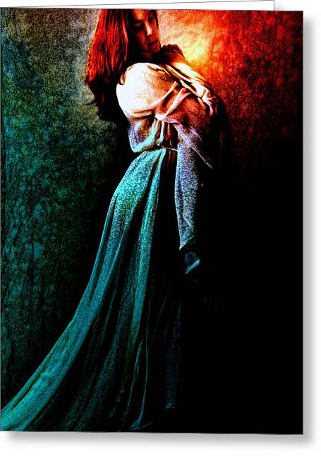 Maiden Mixed Media Greeting Cards - The Wistful Maiden Greeting Card by Tyler Robbins