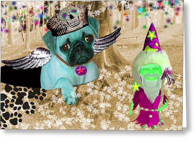 Best Sellers -  - Puppies Greeting Cards - The Wizard Gnome of the forest Greeting Card by Tisha McGee
