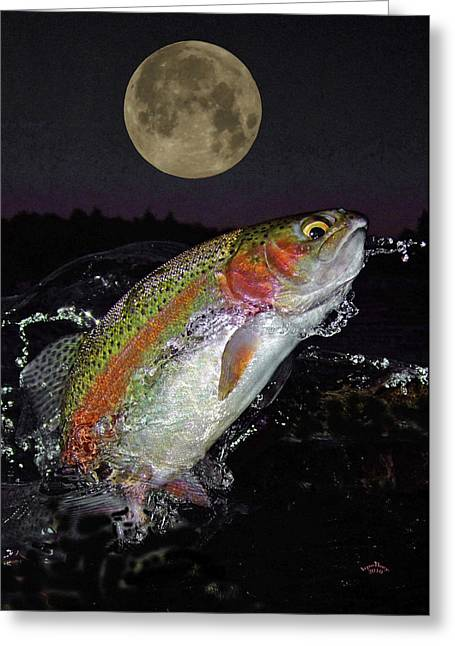 Fly Fishing Print Greeting Cards - The Wolf Moon Greeting Card by Brian Pelkey