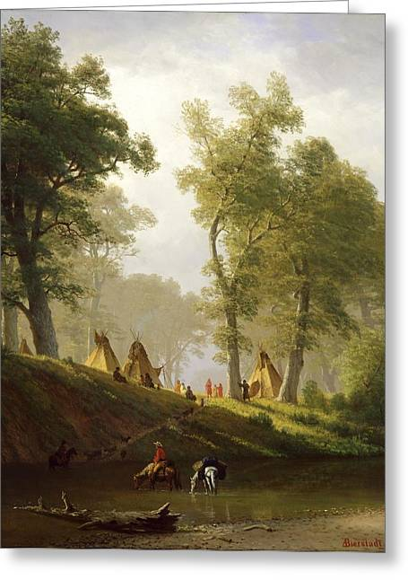 Travellers Greeting Cards - The Wolf River - Kansas Greeting Card by Albert Bierstadt