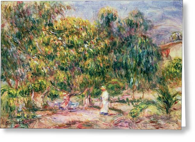 Woman In A Dress Greeting Cards - The Woman in White in the Garden of Les Colettes Greeting Card by Pierre Auguste Renoir