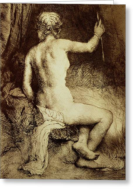 Cave Drawings Greeting Cards - The Woman with the Arrow Greeting Card by Rembrandt Harmensz van Rijn