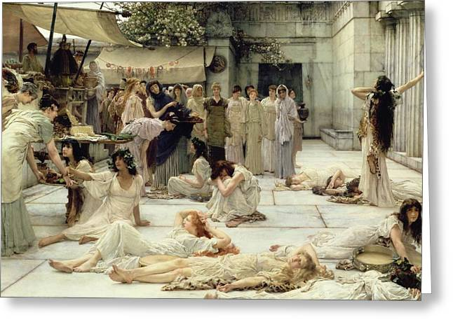 Guard Greeting Cards - The Women of Amphissa Greeting Card by Sir Lawrence Alma-Tadema