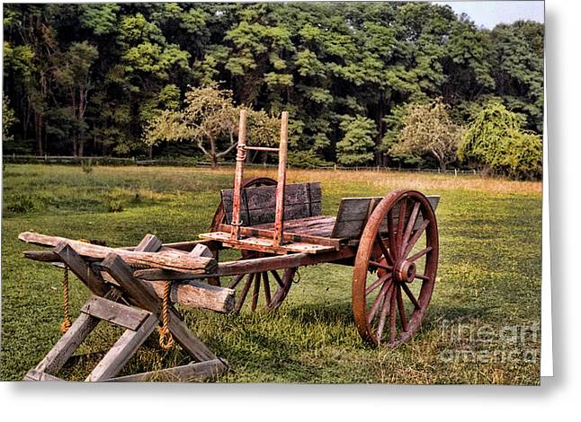 Spokes Greeting Cards - The Wooden Cart Greeting Card by Paul Ward