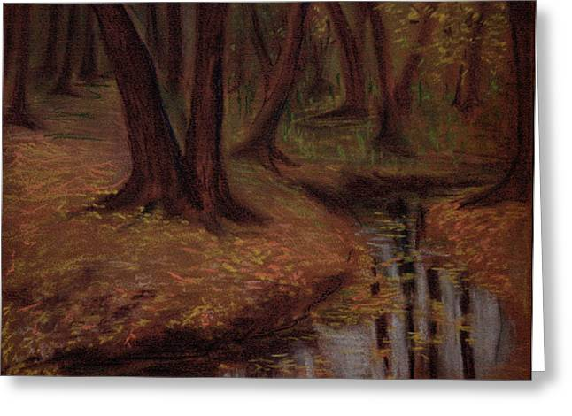 Brook Pastels Greeting Cards - The Woods are deep and dark Greeting Card by Asha Sudhaker Shenoy