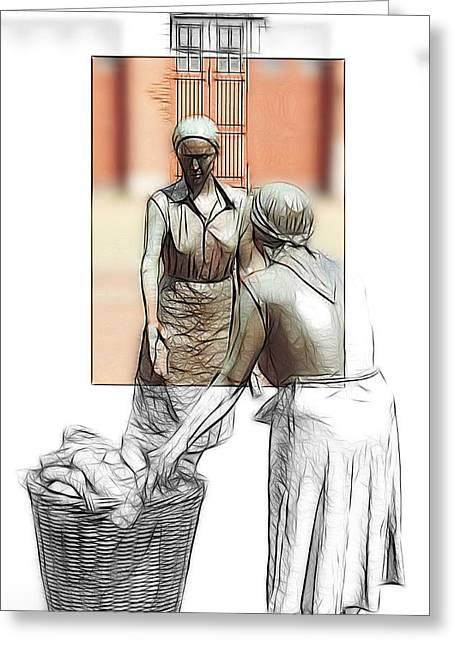 Peat Greeting Cards - The working women 1900 Greeting Card by Stefan Kuhn